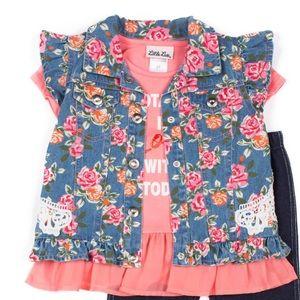 Little Lass Girls Ruffled Floral Denim Vest
